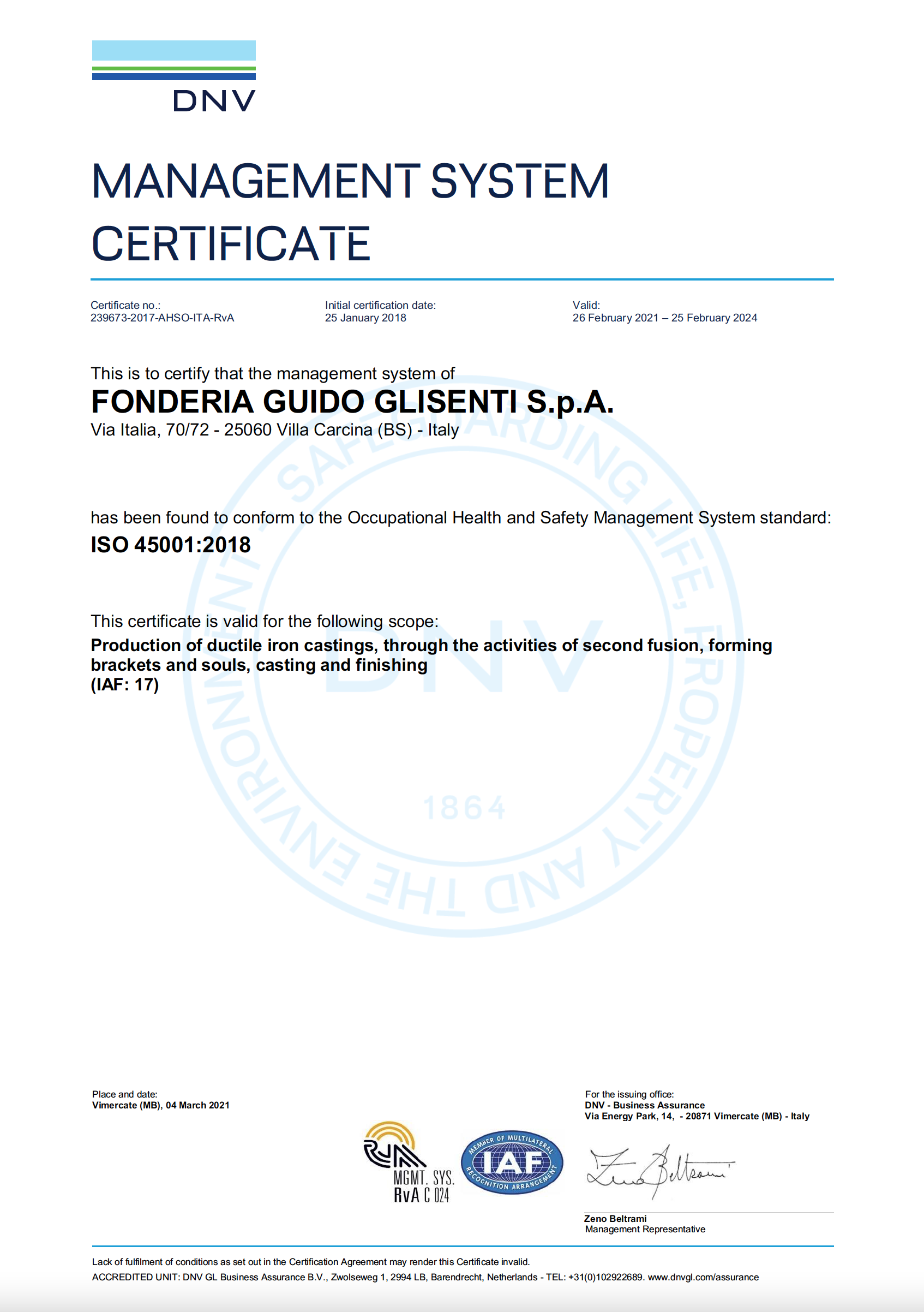 ISO 45001:2018 - 2021